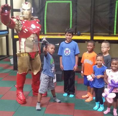 Ironman's suit lights up for kids parties and superhero party.