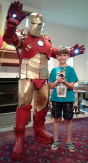 Ironman superhero costumed character birthday party rental in Houston, Texas.