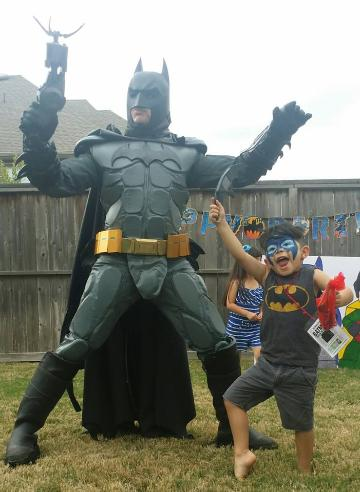 Rent a Batman costume super hero for kid's birthday parties in Houston, texas.