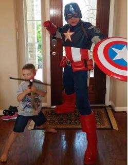 Rent a captain america superheroparty character for kids party in houston , texas.