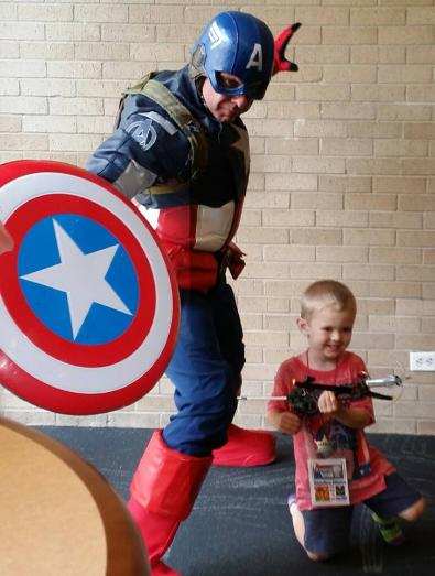 Captain america costumed character superhero for birthday party in Houston, Texas.