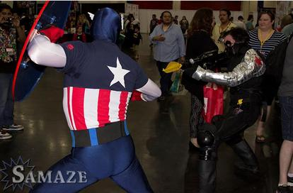 Captain america and the winter solder superheroes rental battle at comicpalooza in Houston, Texas.