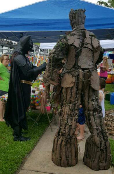 Batman and groot rental at a superhero party in spring, texas.