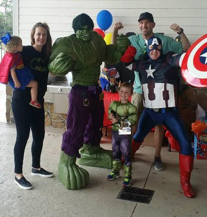 Rent a Hulk superhero party for kid's birthday party in Houston, Texas.
