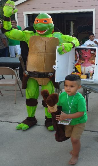 Michaelangelo ninja turtle rental for superhero parties in Houston, Texas.