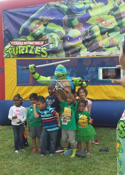 Leonardo ninja turtle super hero rental for kid's birthday parties in Houston, Texas.
