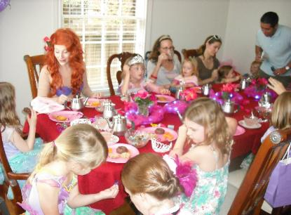 Ariel (from the little Mermaid) tea party at a princess birthday in Houston, Texas.
