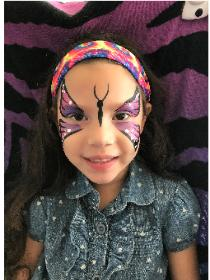 Houston face painting clown artists for your child's birthday party like this beautiful example of this butterfly.