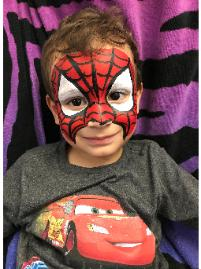 Kids party experts offers quality full facepainting for children's birthday parties like this example of a Spiderman face painting.