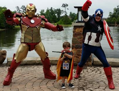 houston superhero party avengers, ironman, and captain america