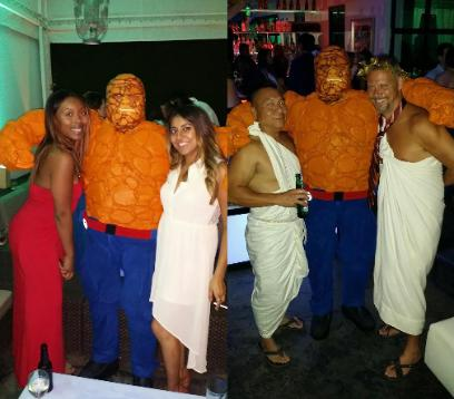 The thing from the fantastic 4 makes new toga wearing friends in Houston, texas.