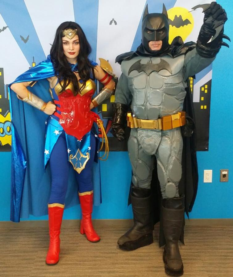 Rent Batman and Wonder woman for a super hero birthday party in Houston, Texas