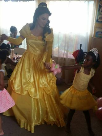 Princess Belle costumed character for a birthday party rental in Houston, Texas.