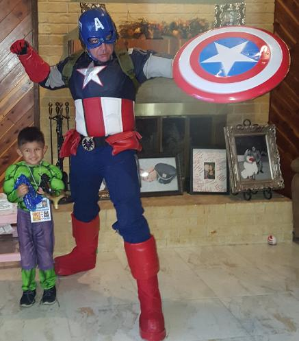 Our Captain america costumed character is special because the costume fits to make him look athletic, has a solid helmet, and a solid metal reinforced shield for parties in Houston,Texas birthday fun for kids.