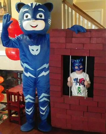 There is more to a great costumed character mascot than just a nice costume. You need the voice, the characters knowledge of the show, activities that relate to the show, and super hero props available for pictures in Houston birthday parties.