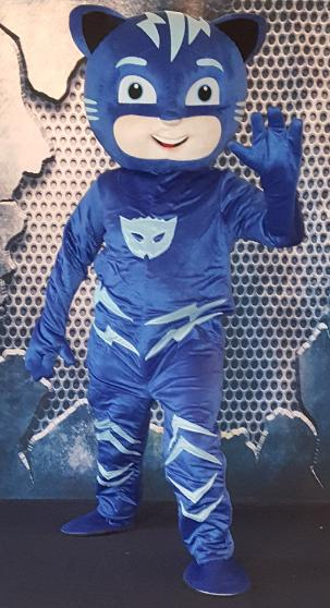 Catboy from PJ Masks is our newest mascot costumed character for childrens birthday party in Houston.