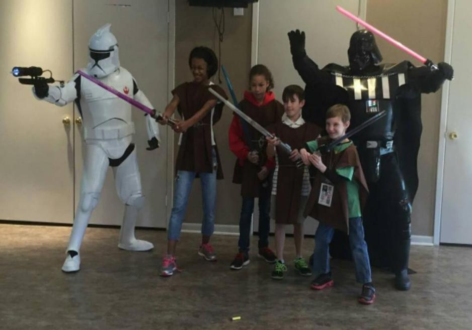 Rent darth vader and a storm trooper for a superhero party in Katy, Texas.