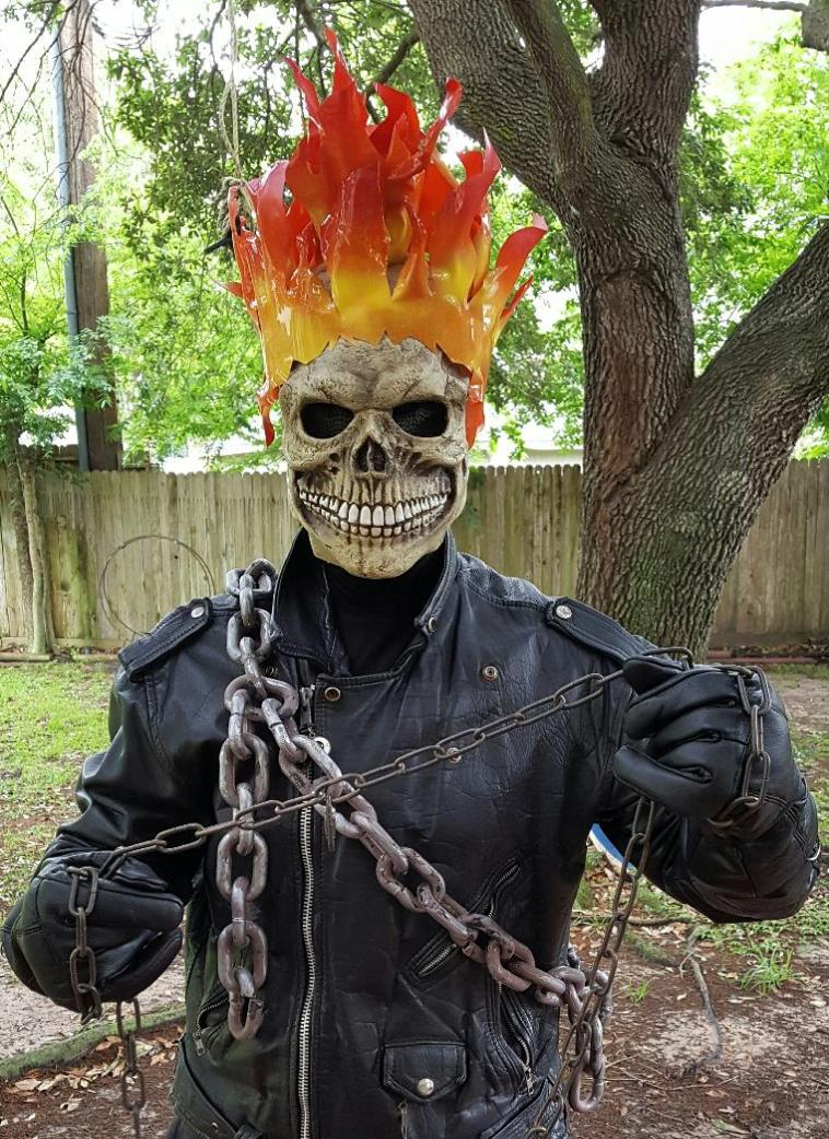 Ghost rider has glowing flames for kid's superhero parties in Houston, Texas.