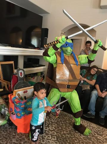 Our turtle comes with great props and costume.