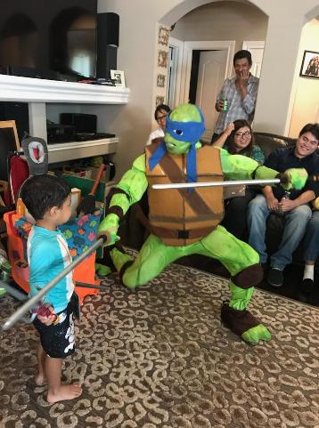 Hire a great turtle for your next Houston birthday party.