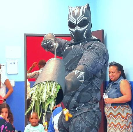 This superhero costumed character comes with many super hero training activities for you childs Houston birthday Party.