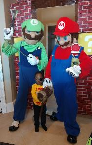Hire these 2 video game plumber brothers for you Houston child's birthday party with fun theme games