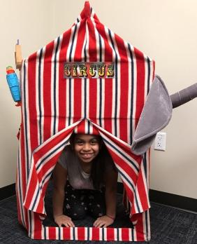 Take a picture in our circus tent when you rent the $250 party package in Houston for children's birthday parties.