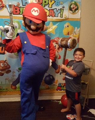 hire our Super Plumbing Brother for your special birthday party in Katy, Texas.