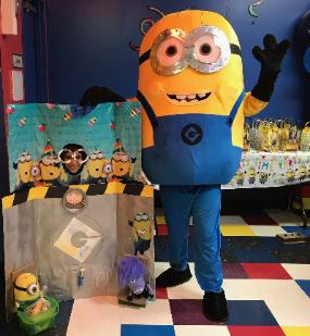 This minion mascot character brings the fun to your houston birthday party!