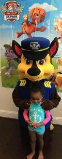Hire our police dog mascot for an exciting kids birthday party with theme games and props around the Houston area.