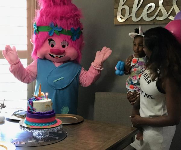 Hire a fun loving troll costumed character mascot for your Houston area birthday Party.