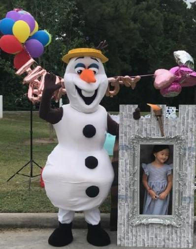 Rent this mascot party character snowman for your social distancing birthday event