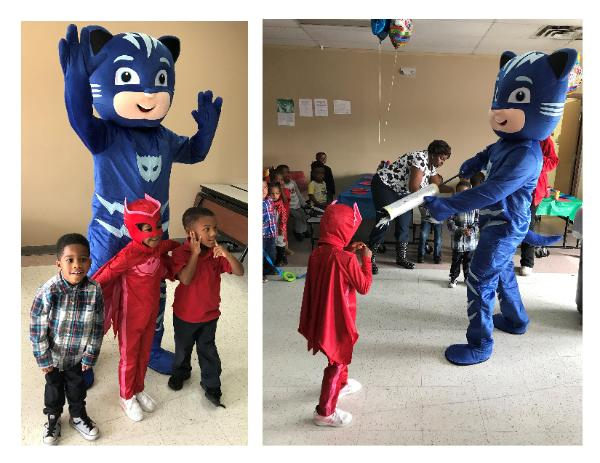 Houston mascot superhero costumed character birthday party fun.