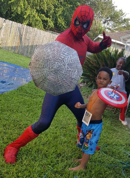 rent an appearance from americas favorite wall crawler at your childs next Houston birthday party with props and games.