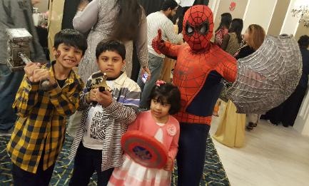 Rent a superhero costumed character for your houston area birthday party if you want 3 happy kids like these with awesome props.