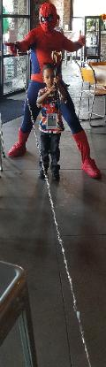 Skeeters restaurant had a birthday party for Walter in West University and is a great location for superhero training with spider man.
