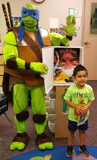 Hire this super hero turtle for your next event. Great for birthdays and special events. Comes with cool props and games.