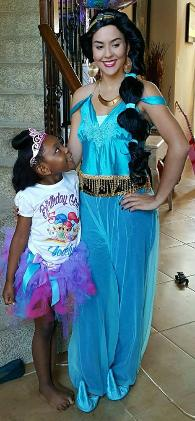 Princess Jasmin celebrates at a birthday party in Houston, Texas.