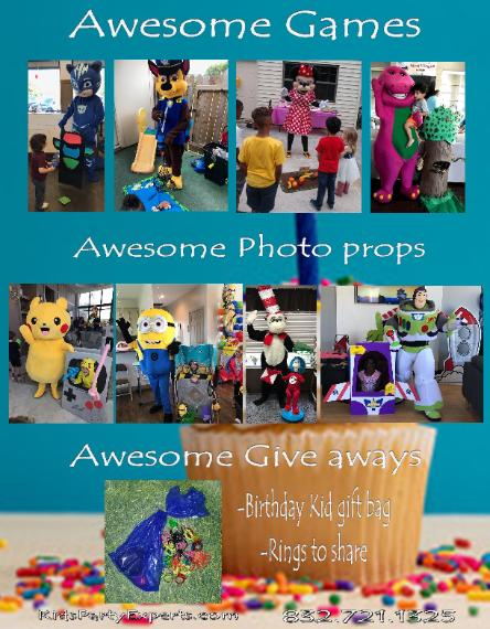 Party characters for kids in Houston texas with awesome mascot costumed characters with great theme games and more for birthday parties.