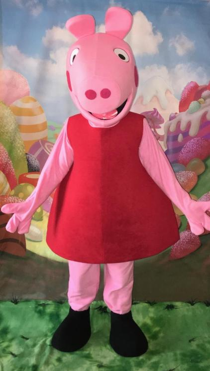 Rent this mascot party costumed character to have this fun loving girl pig at your Houston birthday Party.