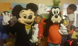 Mickey and Goofy at a costumed character birthday party in Houston, texas.