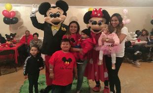 Mickey & minnie mascots at a birthday party in sugarland, texas.