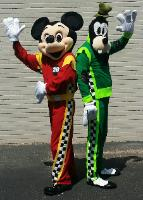 mickey and Goofy mascots dressed for mickeys roadster racers at the Stella link Little gym in Houston, Texas.