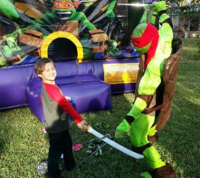 Raphael ninja turtl rental for superhero costumed characters in houston, Texas.