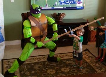 Donatello rental super hero costumed characters for League City , Texas birthday parties.