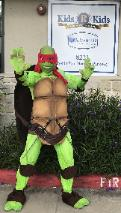 Our turtles look real with custom made shells, moving mouths, and awesome superhero props in Houston.