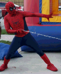 Spider-man costumed character in houston