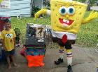 Spongebob mascot costumed character at a birthday party in Houston, Texas.