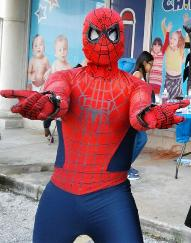 Hire Spiderman superhero costumed character for birthday parties in Houston, includes awesome props for pictures.