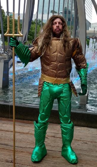 Hire this king of the ocean super hero for your child's birthday party in Houston for a great costume,great water themed games, & awesome photo props.